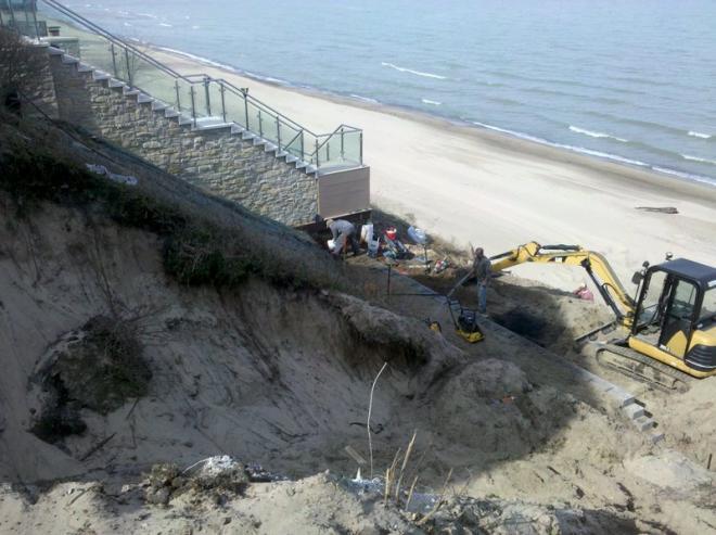 Duneland landscapers installing retaining walls