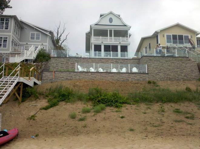 Beach property hardscape design in Michigan