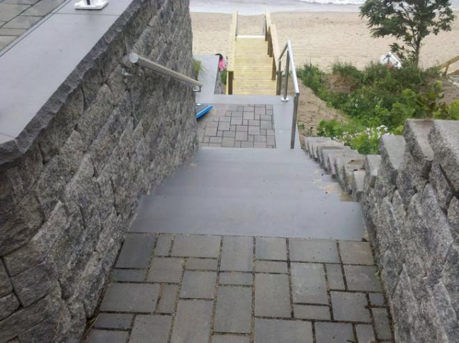 Patio pavers used for outdoor steps on beach property