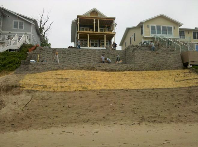 sod, pavers, retaining wall in hardscape project