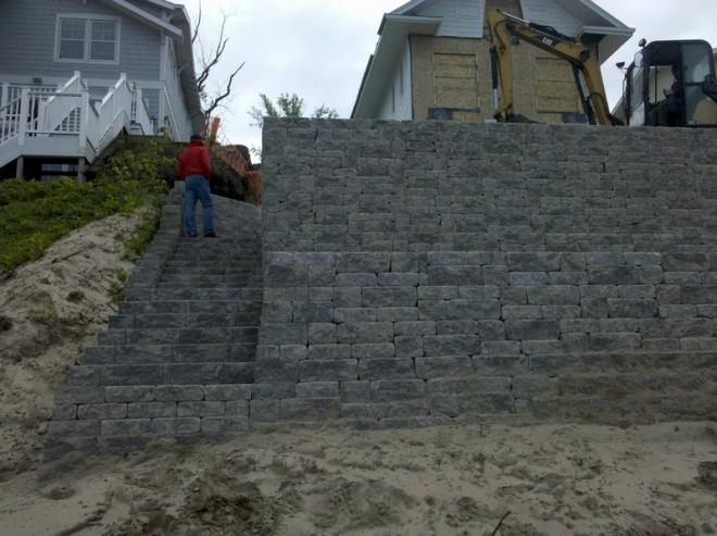 manufactured bricks for beach retaining wall