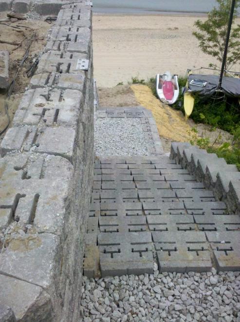 hardscape staircase in Grand Beach design