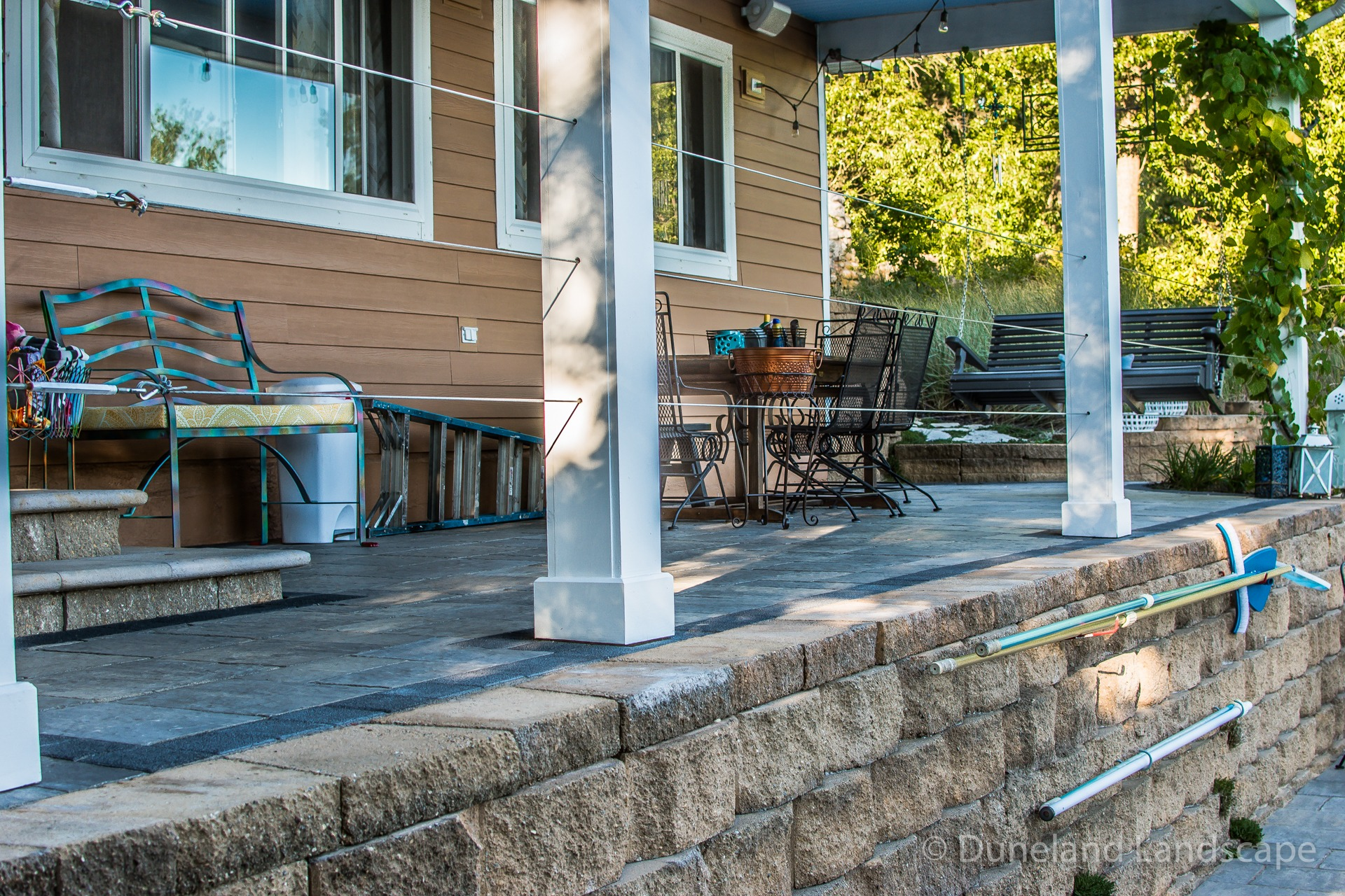 elevated front porch fence installation