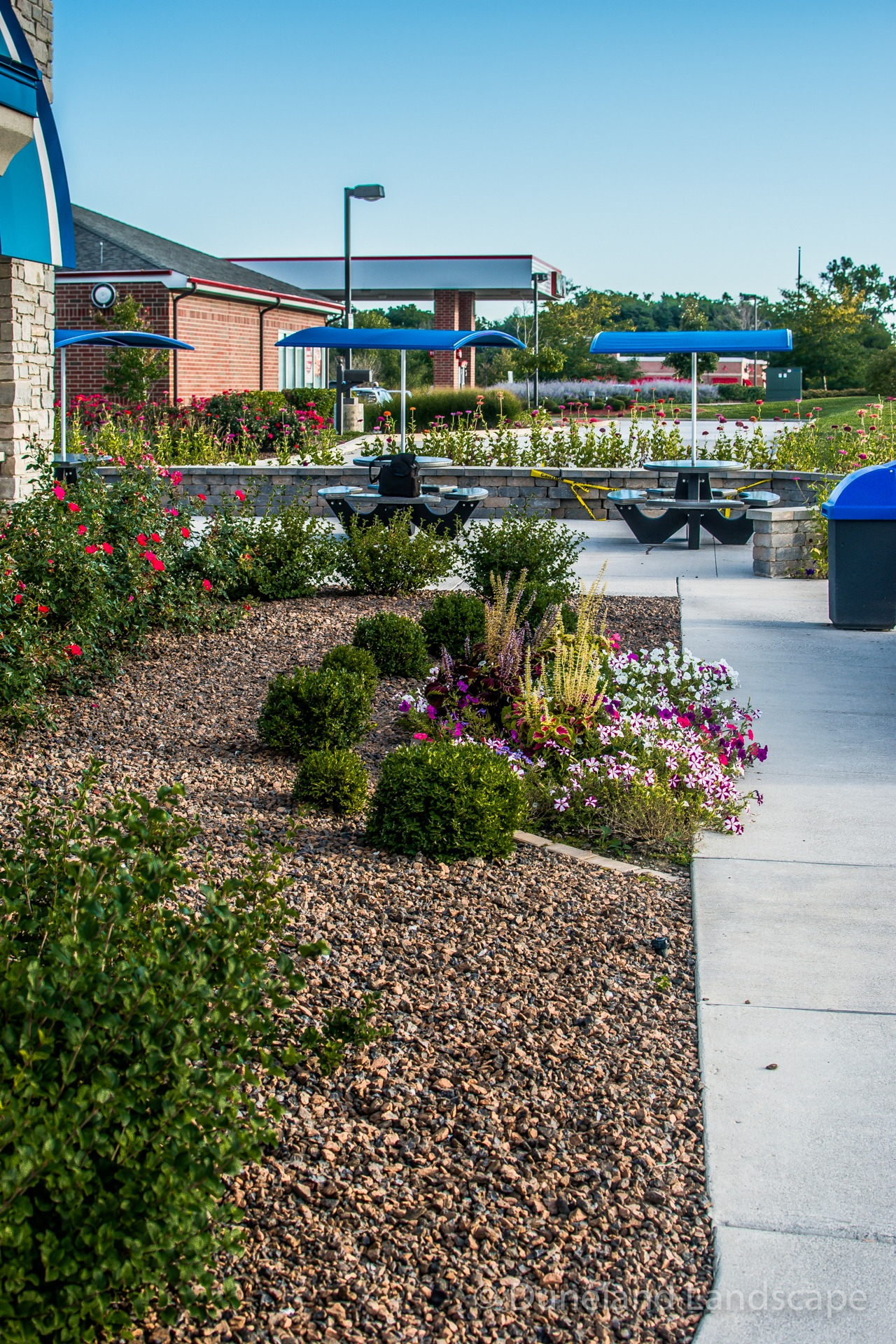 landscaping stones in flower bed