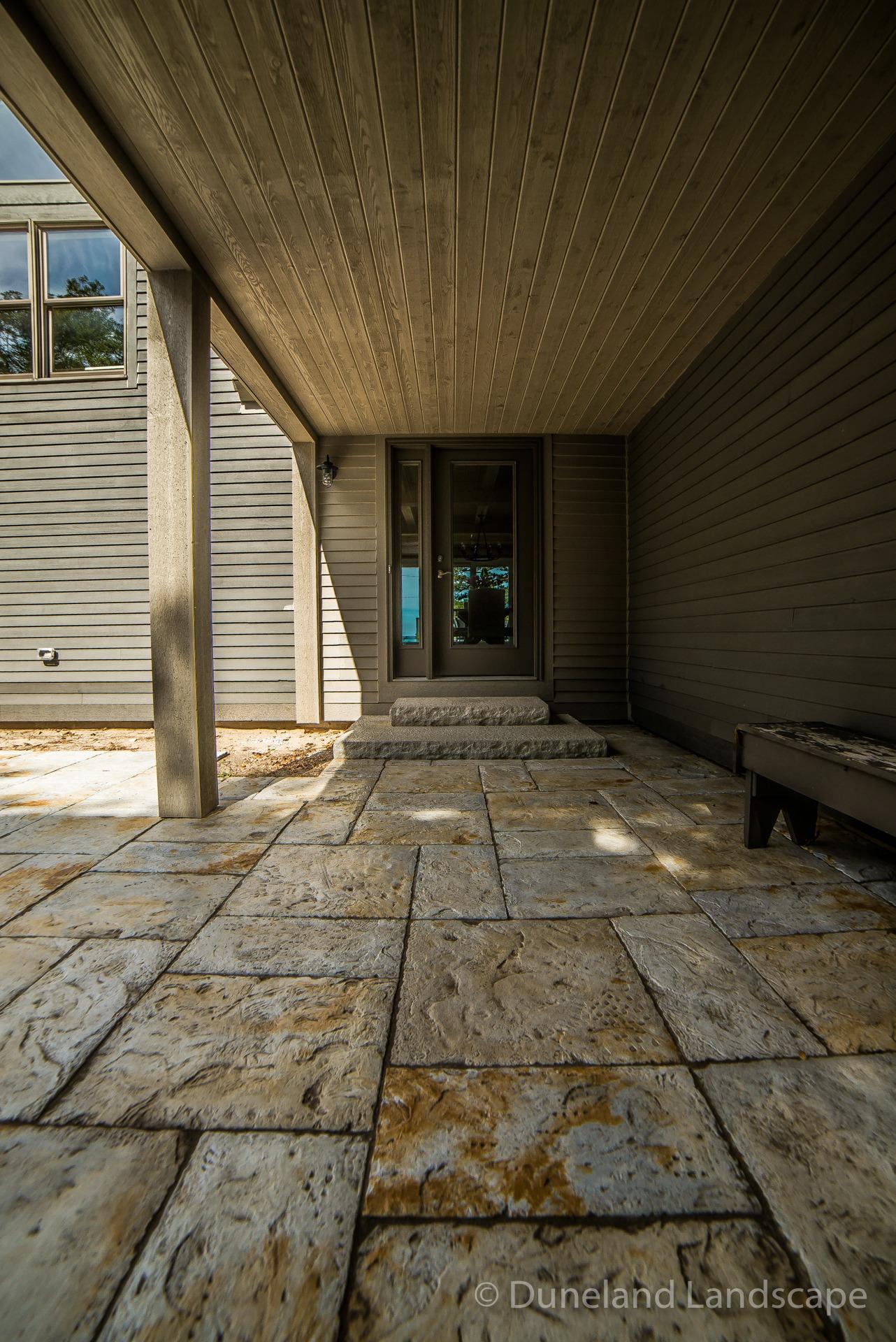 outdoor patio bricks and porch steps