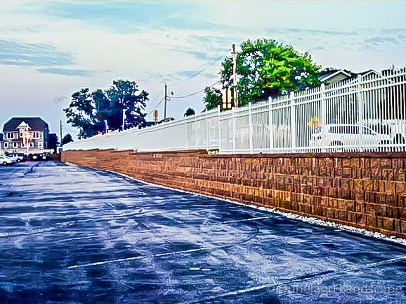 retaining wall edging for parking lot