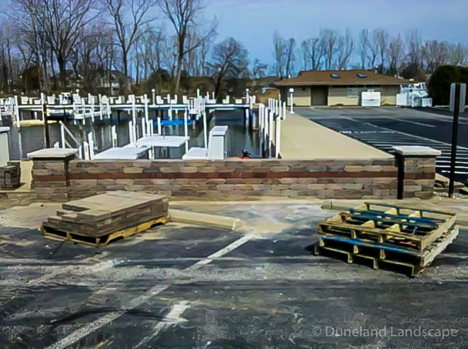 parking lot retaining wall installation