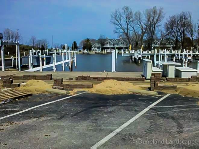 lake front parking lot retaining wall installation