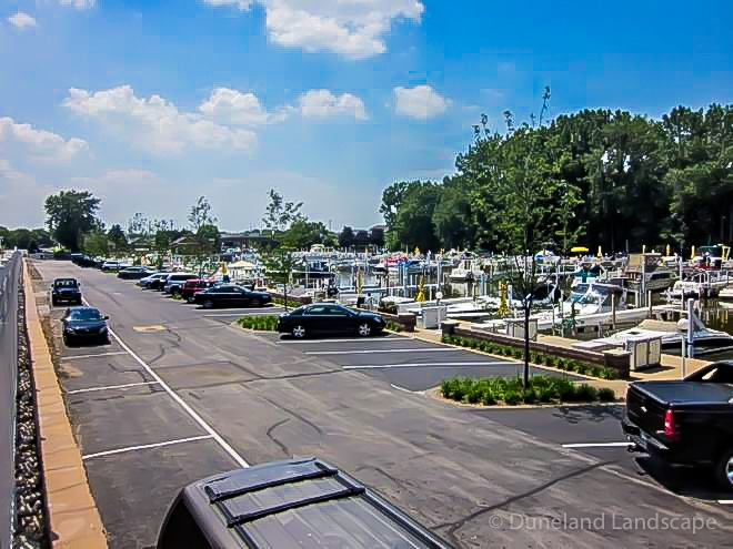 custom landscaping in Lake Michigan boat marina