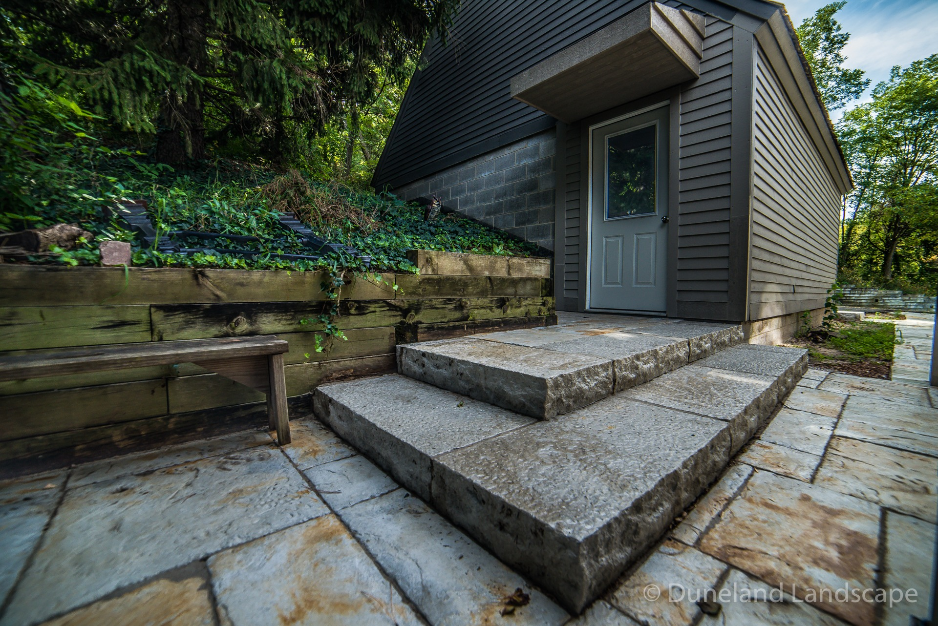 built in patio staircase pavers
