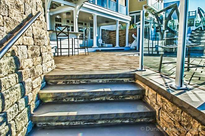 Lake Michigan hardscaping and staircase installation