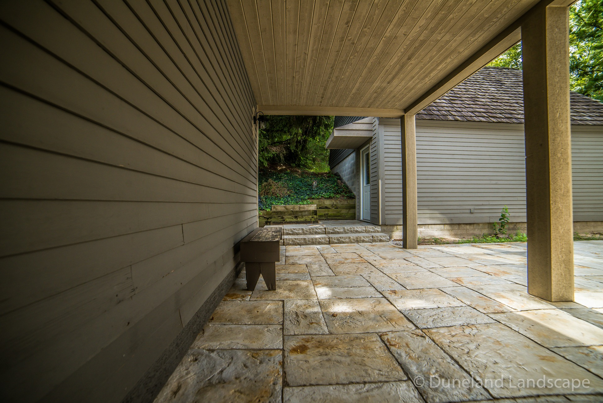 cabin home with patio pavers