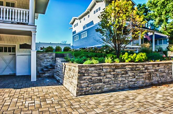 Retaining wall with paver driveway