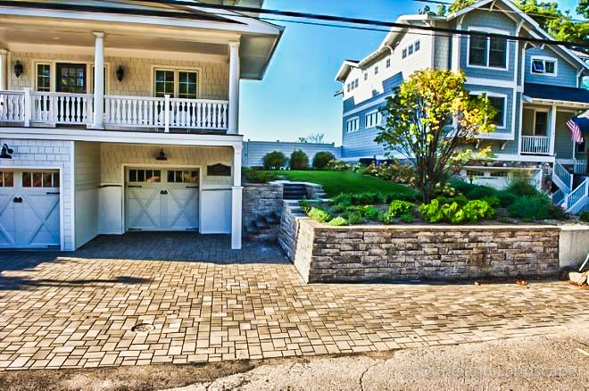 driveway brick pavers and retaining wall