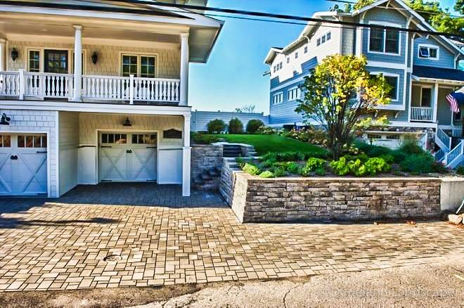 driveway brick pavers and retaining wall