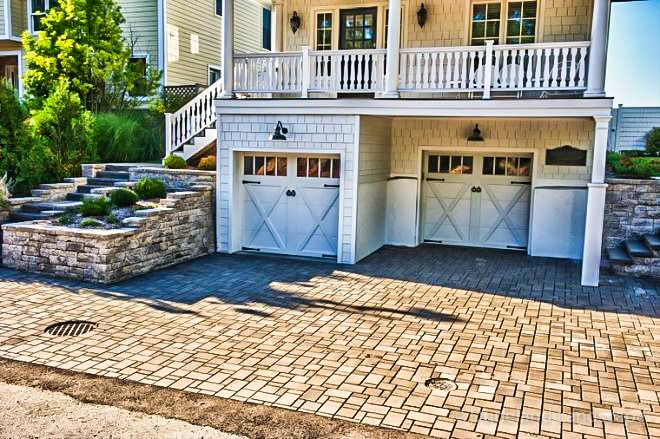 custom driveway design with multi-sized bricks