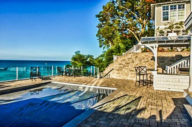 pool and patio design using brick pavers