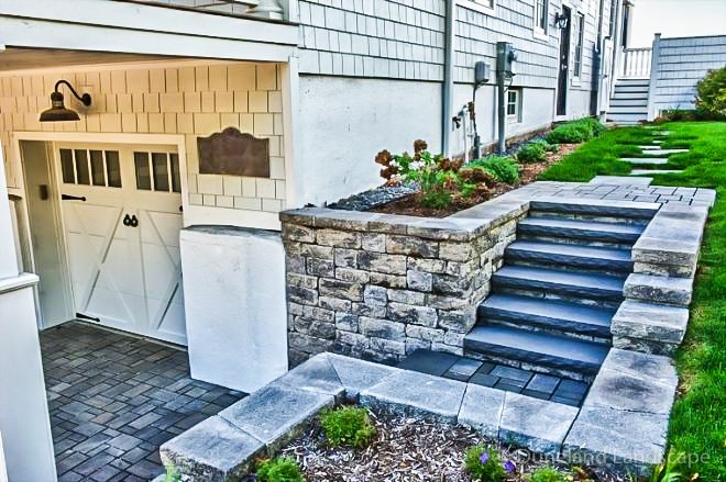 functional outdoor hardscape staircase to garage