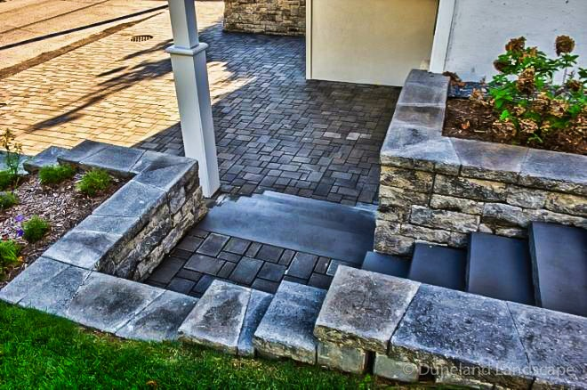 outdoor hardscape stairs and landscape design