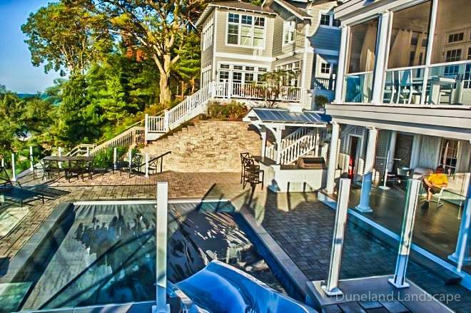 beatiful backyard design in Grand Beach, Michigan