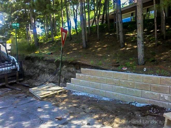 Brick retaining wall built in Indiana