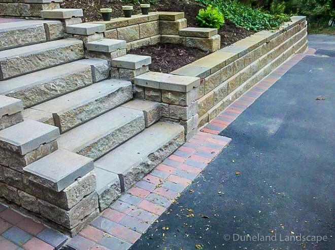 Stairway with brick decorative stone