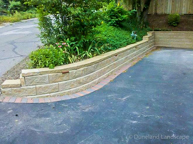 Retaining walls paved by Duneland Landscaping