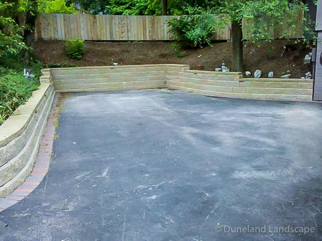 retaining walls built in driveway of Indiana home