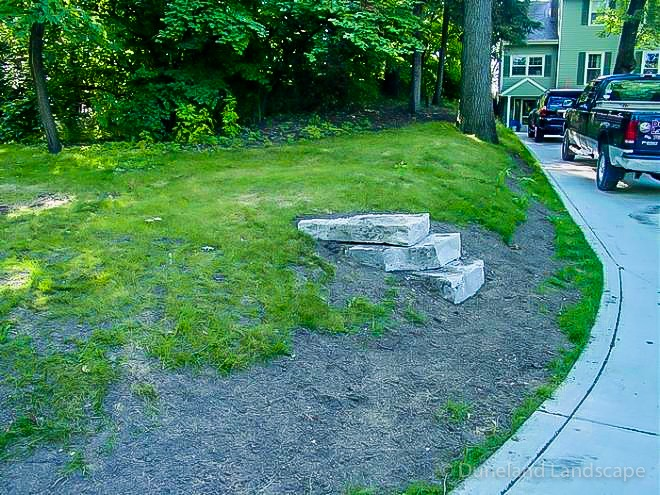 start of landscaping and hardscaping project by duneland