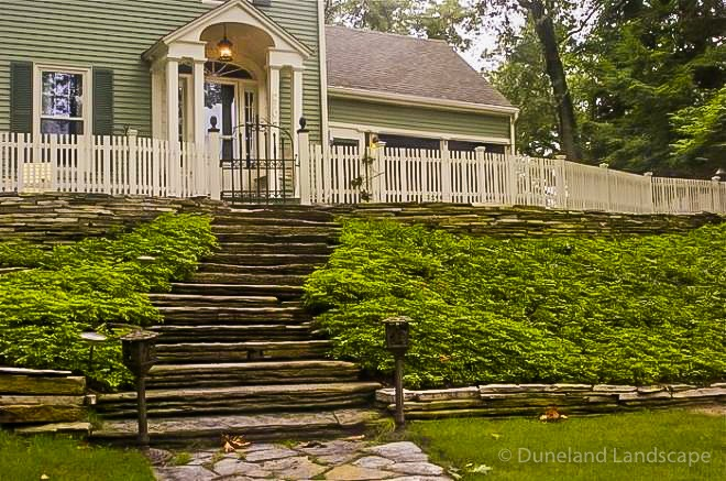 decorative stone staircase with landscaping