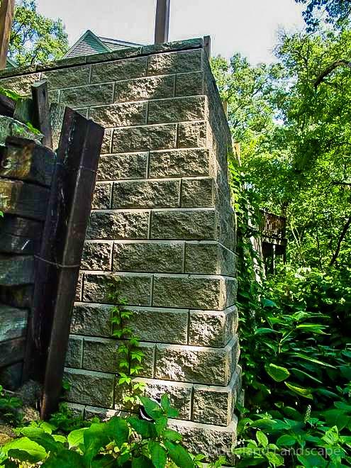 retaining wall at lake home