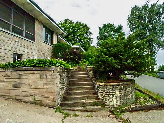 client outdoor stairway before Duneland