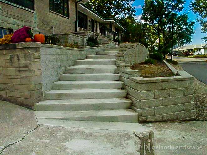 stairway and retaining walls