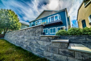 Retaining brick wall and steps