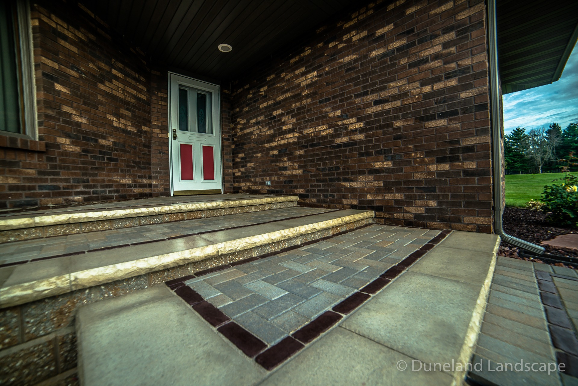 front porch brick patio installation