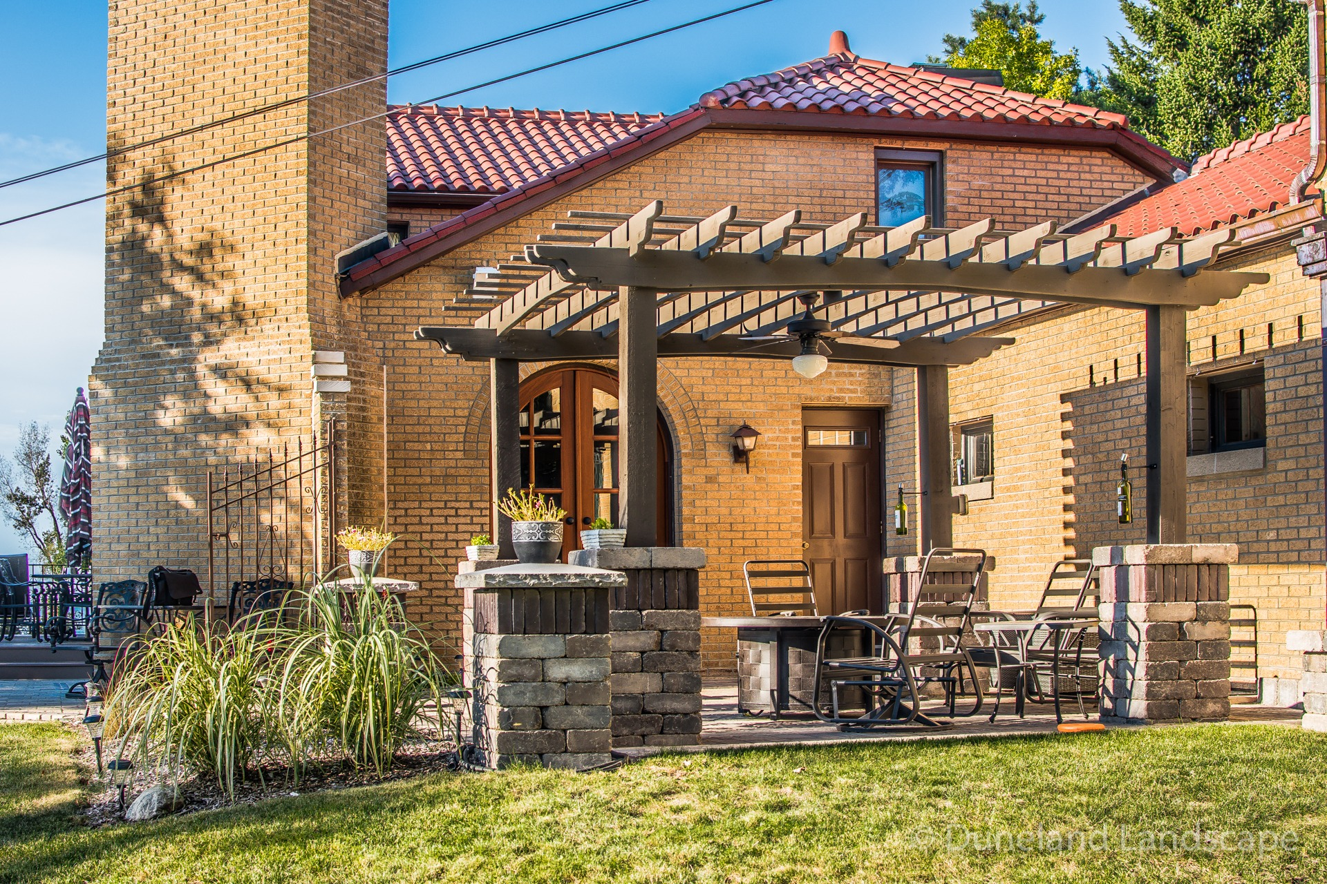 pergola over brick patio