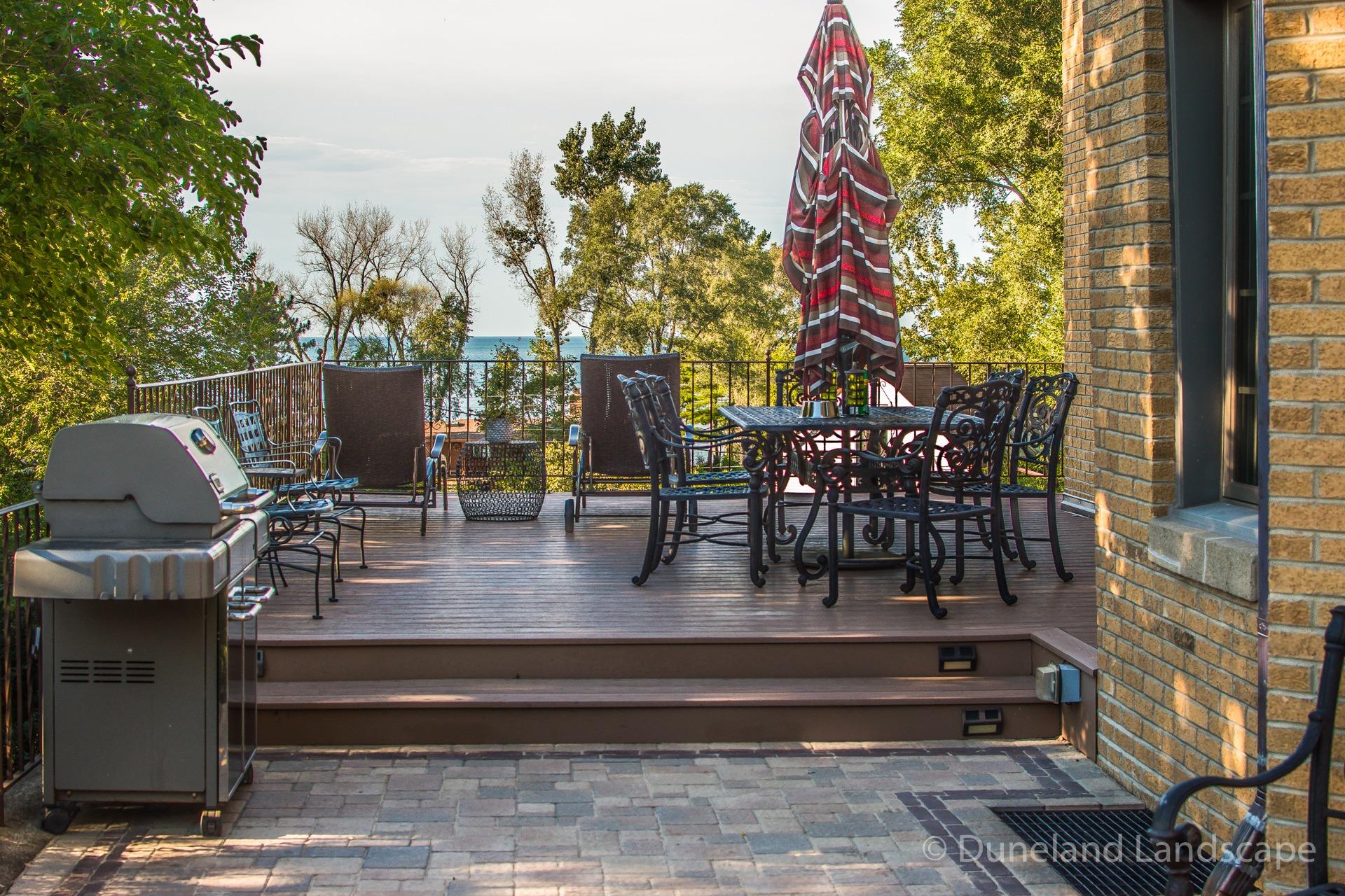 brick and wood patio deck installation