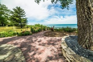 Paver patio and natural landscaping