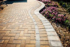 Designed brick paver patio